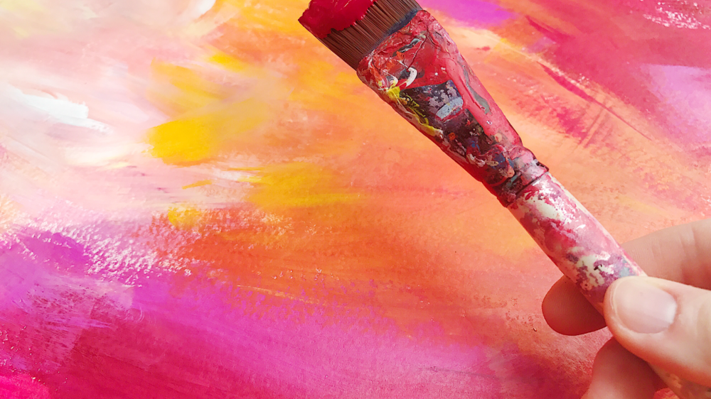 Taylor Lee Paints :: Artist holding brush with red paint