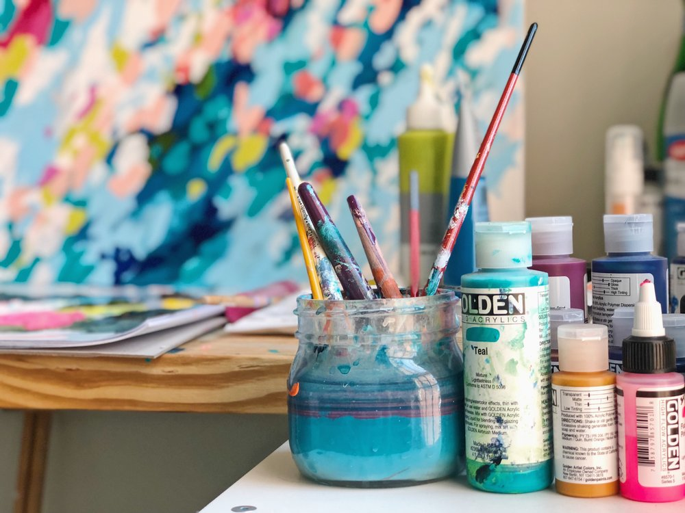 Golden paints and brushes in taylor lee paints studio