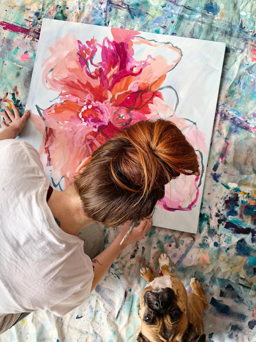 Taylor Lee Paints :: Floral with puppy Friday
