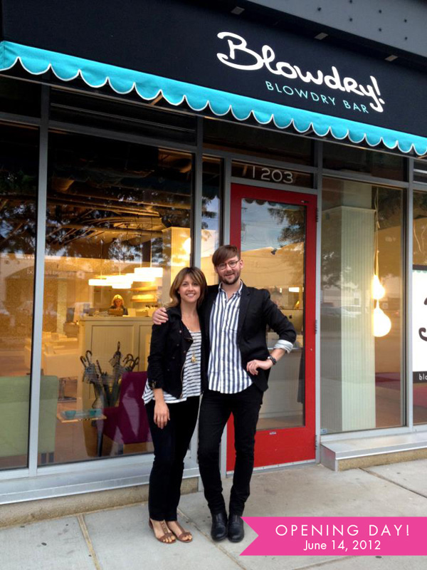 Jessica and Charlie on opening day at the Twin Cities first blowdry bar – Blowdry!
