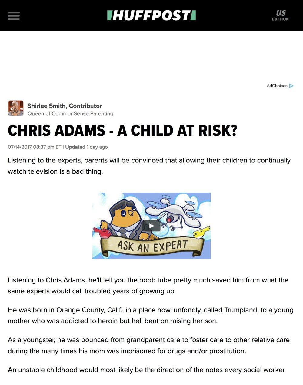 CHRIS ADAMS - A CHILD AT RISK? | HuffPost P1.jpg