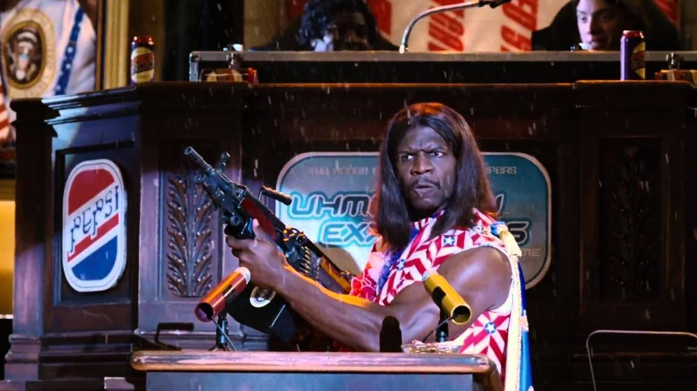 Terry Crews as President Dwayne Elizondo Mountain Dew Herbert Camacho in Mike Judge's Idiocracy