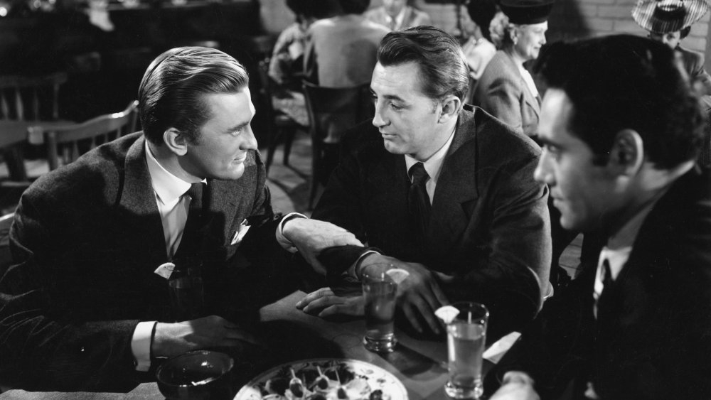 Kirk Douglas and Robert Mitchum in  Out of the Past .