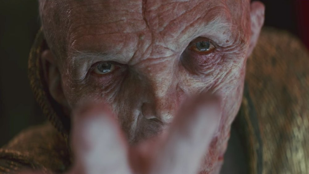 Supreme Leader Snoke (Andy Serkis) is the most menacing aspect in this trilogy...or is he?