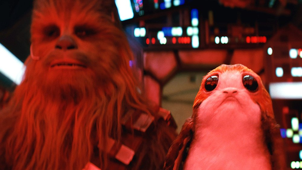 Chewbacca and a Porg. Two opposed creatures that could certainly lead to hijinx.