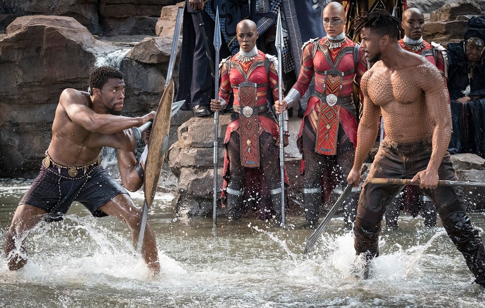 Chadwick Boseman and Michael B. Jordan in Marvel's Black Panther