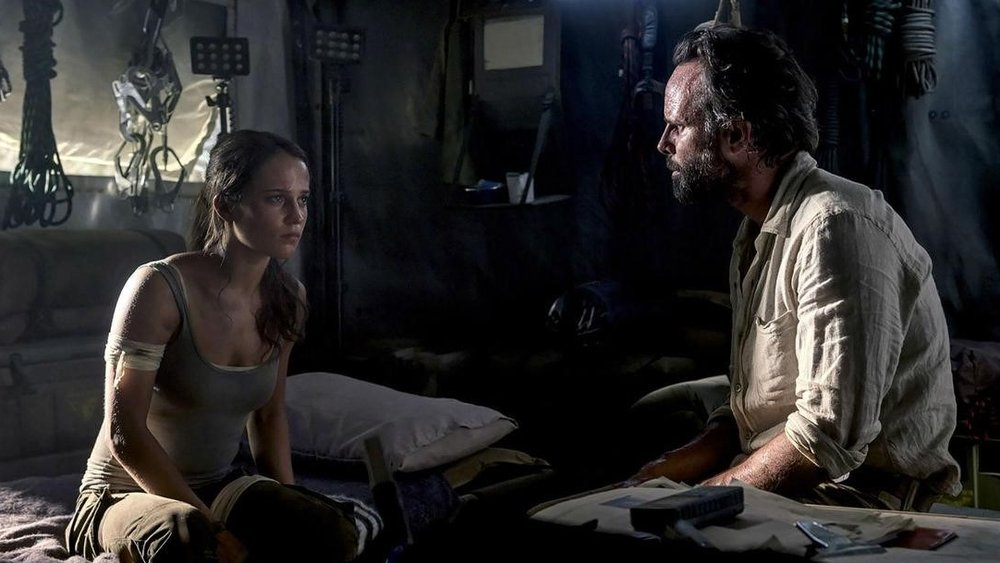 Alicia Vikander and Walton Goggins in the new Tomb Raider.