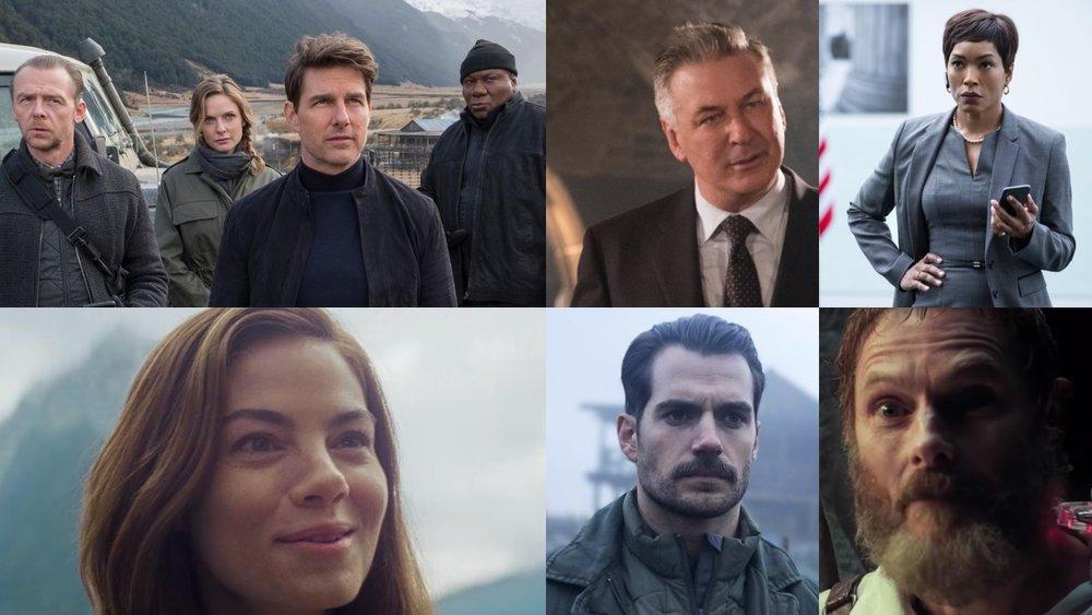 Tom Cruise, Michelle Monaghan, Rebecca Ferguson, Sean Harris, Henry Cavill, Angela Basset, Alec Baldwin, Ving Rhames, Simon Pegg,