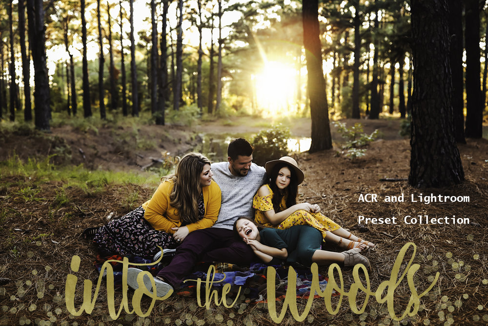 The Into the Woods preset collection is here!  This preset collection is packed full of color and as always focuses on being skin tone friendly and being easy to use! These presets are rich and creamy and full of beautiful brown undertones. I have been using these presets in my workflow for quite some time and couldn't be happier to share! They will cut your work time down drastically while giving your edits a warm and painterly feel!      There are 14 outdoor color presets included and 4 indoor presets included. My testers are loving some of the outdoor presets on indoor work as well so they are completely flexible!
