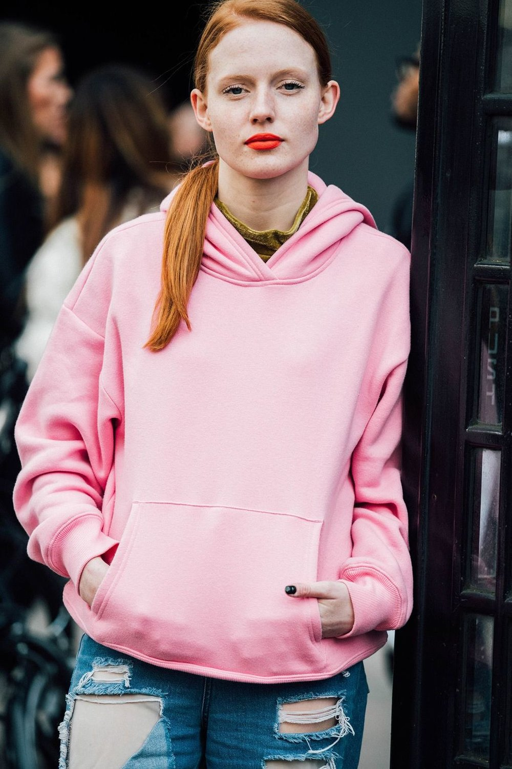 This could almost be a Delores hoodie! If you wanna grab this girl's style, our pink hoodies are perfect.