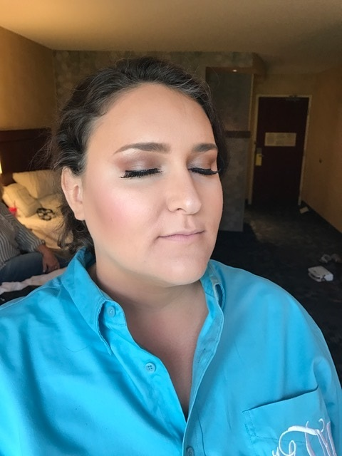 Bridesmaid #1 - look how flawless her skin looks! She just look's absolutely radiant! I did a little deeper plumy eye and used a pink highlight to brighten her face!