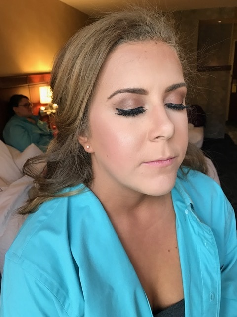Bridesmaid #2 - the Maid of honor and sister of the bride. Girlfriend played volleyball a couple days before and got BURNT. She was peeling pretty badly, mostly on her shoulders and chest. I blended it out as much as I could, definite improvement! Bolder liner and thicker lashes for this bombshell!