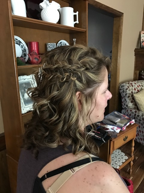 The one thing the bride wanted was braids of some sort for everyone, so we did a double braid for this bridesmaid. Her curls were so perfect I had to leave part of it down!!