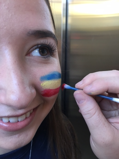 tricolour face painting for homecoming