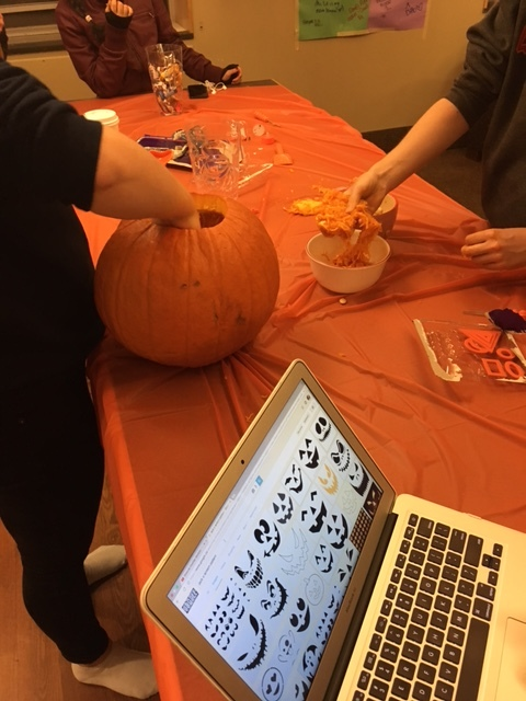 residents are carving pumpkins for halloween!
