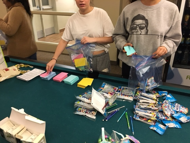 students making exam goody bags