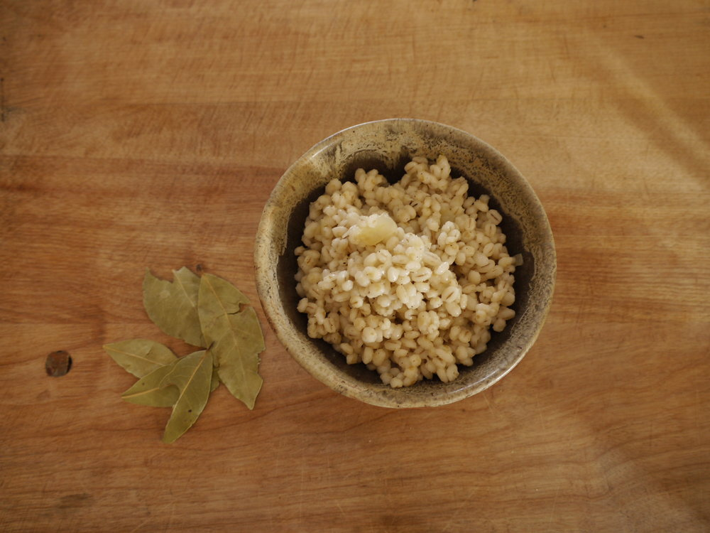Cooked Pearl Barley with Bay leaves