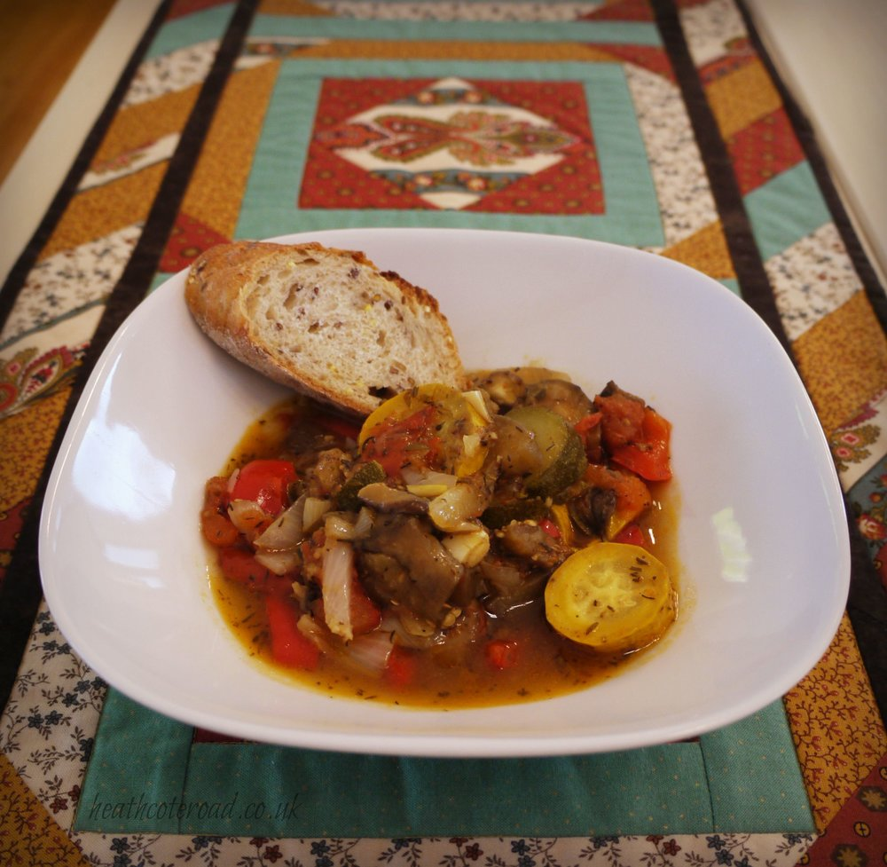 Ratatouille and baguette.