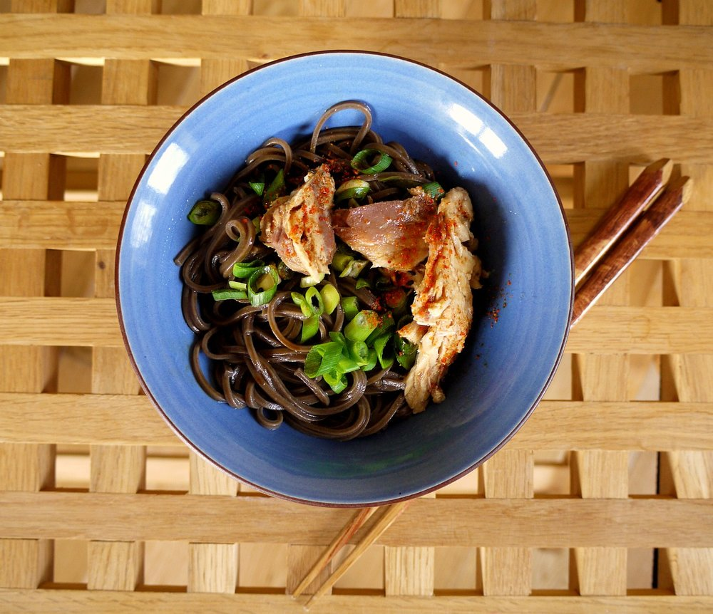 Soba noodles with Mackerel.