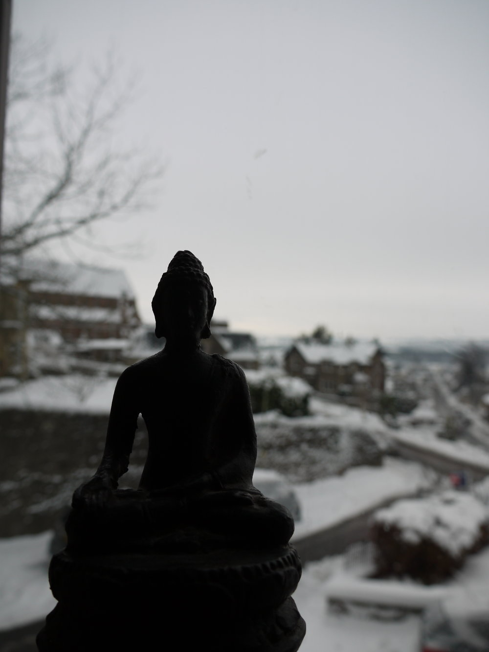 The Buddha and snowy Crieff, Scotland