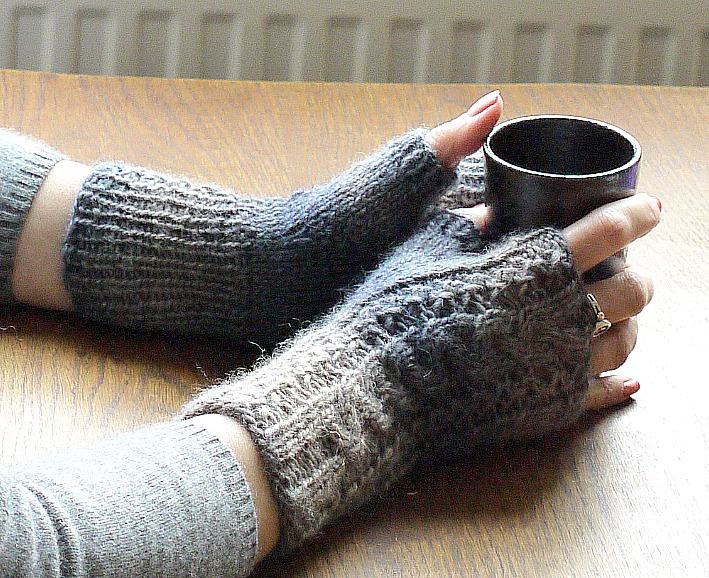 Grouse Dance Fingerless gloves made in the now discontinued 'Tapestry' by Rowan. A soy and wool blend DK. Any good quality wool or wool blend DK that knits to gauge can be substituted. Look for a ratio of approximately 120m/50g.