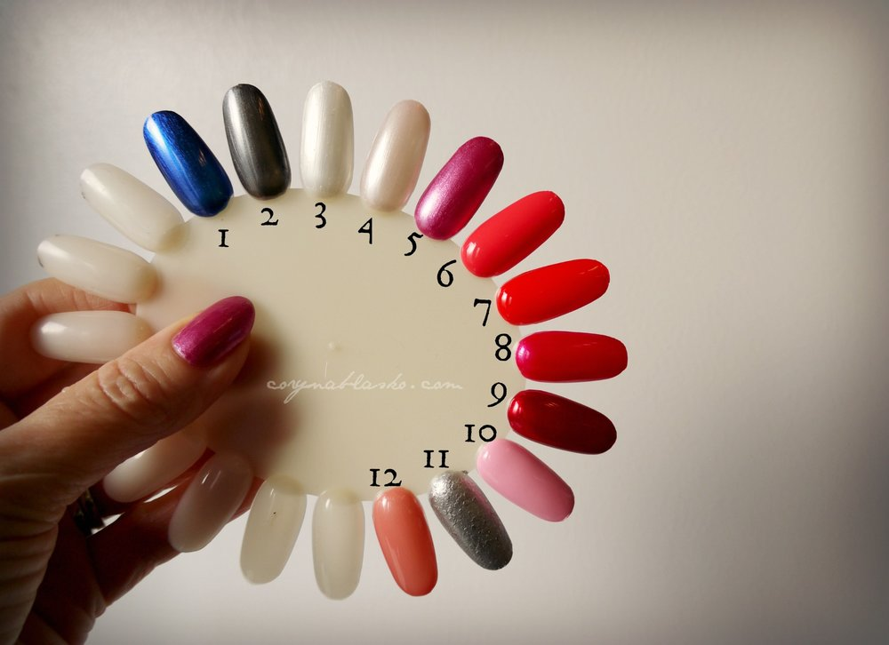Nail colour wheel. All colours are 2 coats.  My all time favourite is no. 9: An Affair in Red Square by OPI.