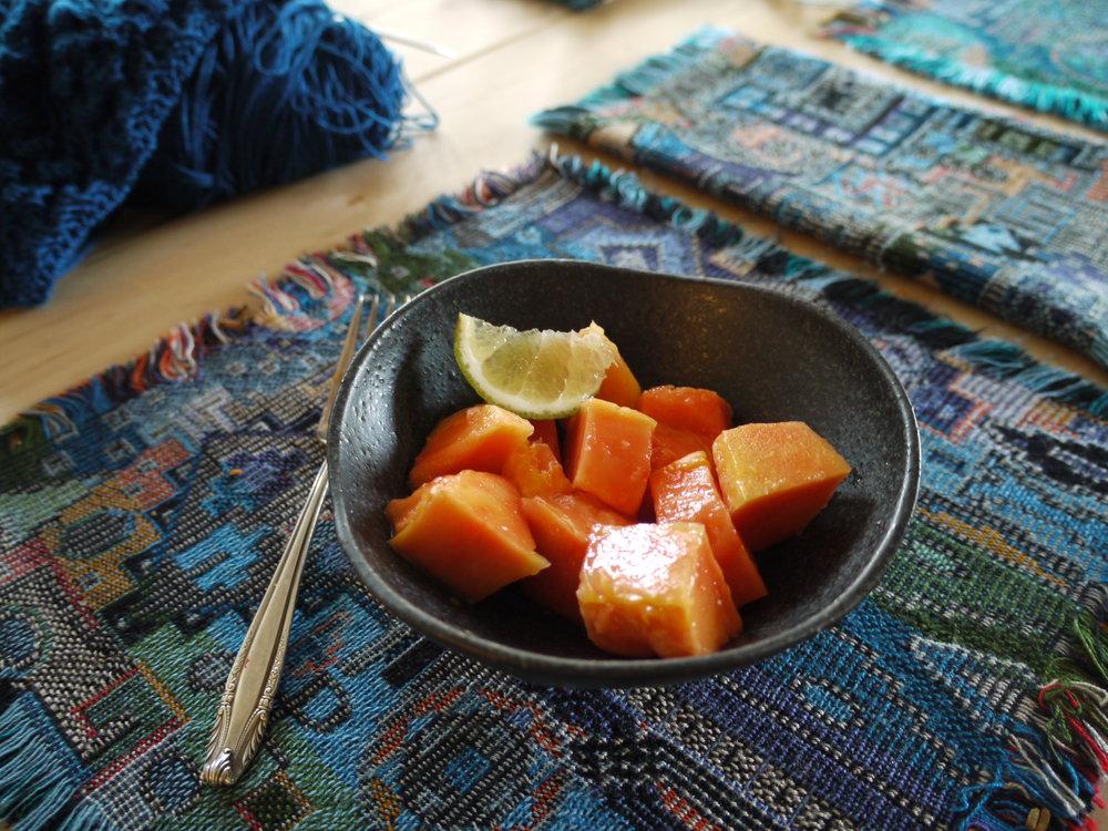 Papaya with lime and knitting.JPG