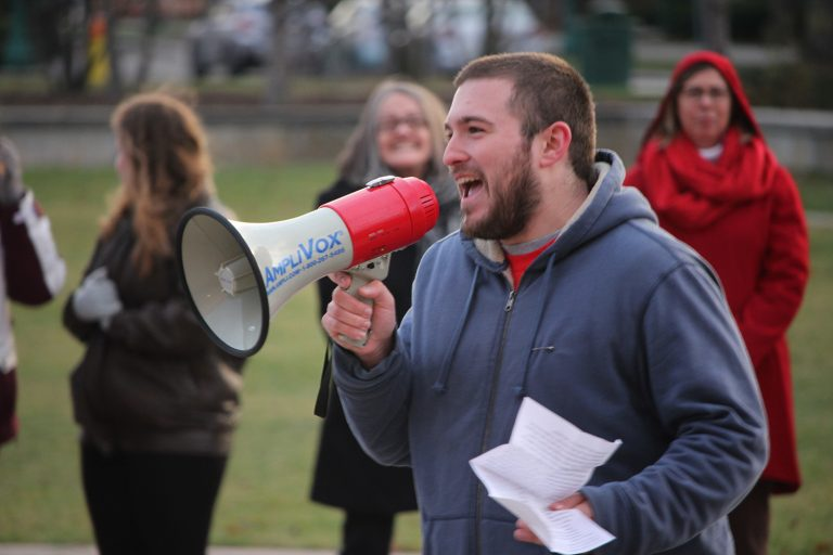 """MAYDAY.US and national fraternity Kappa Sigma held an Anti-Hate Rally on Wednesday Dec. 7. This rally allowed students to voice their opinions on the hateful actions that have occurred on campus after the presidential election. Andrew Arcese (pictured above) attended the event and helped conduct chants such as, """"the people, united, will never be defeated."""""""