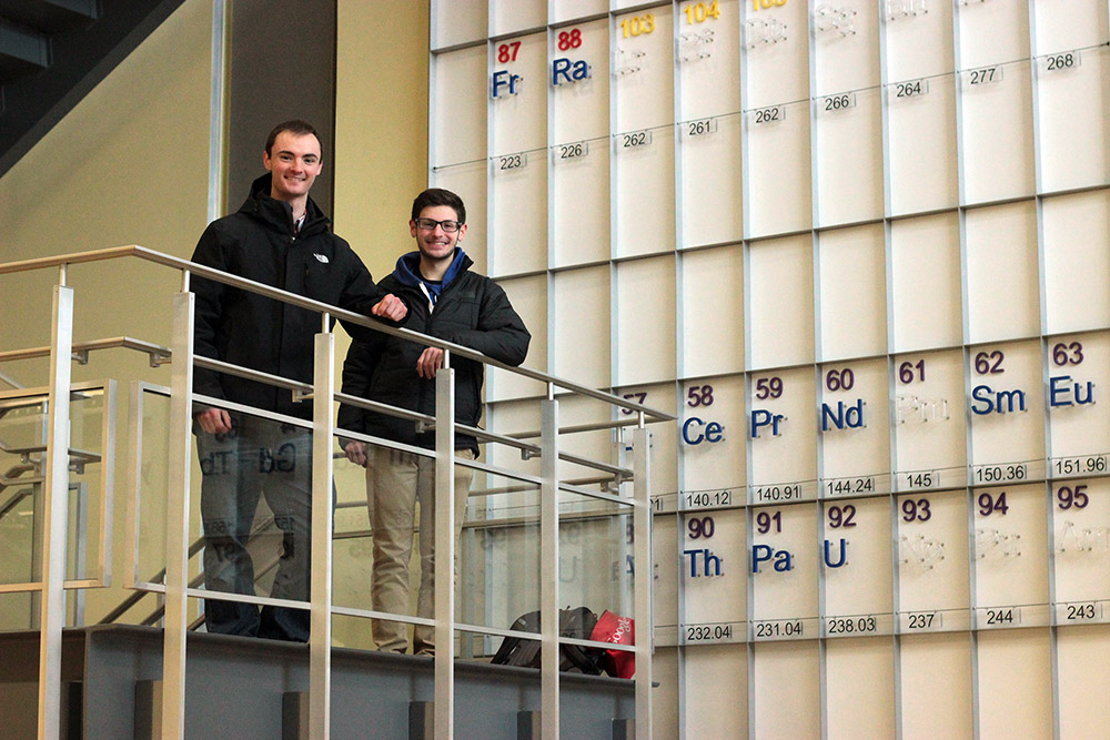 Junior Nick Terrigino and senior David Nicholas are biology majors. Together, they have conducted crucial cancer research during their time in college. Both Terrigino and Nicholas wish to pursue further research in the future, as well as keeping medical school on the horizon. (Sarah Hashmi/Staff Photographer)