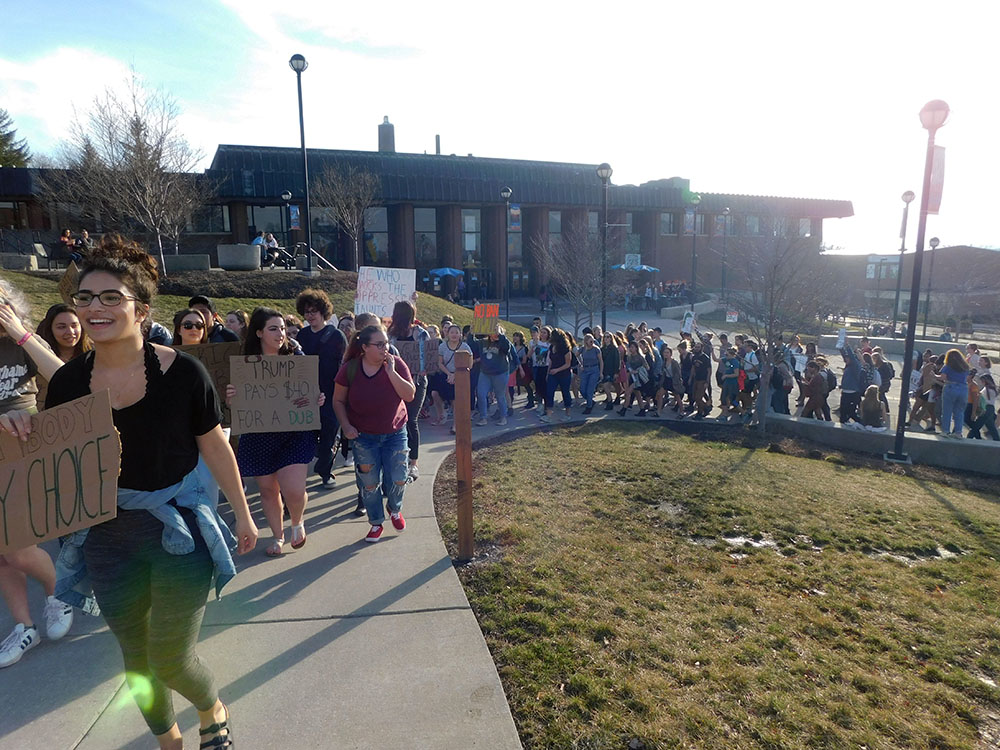 Geneseo students participated in a Solidarity Rally on Friday Feb. 24, which allowed underrepresented individuals to voice their opinions that campus community members have about Trump's presidency. In addition, those who organized the event said they hoped that all attendees felt unified after the rally and welcomed varying points of view. (Jenna Harbus/Staff Photographer)