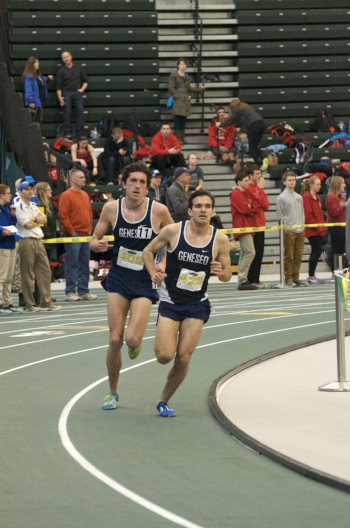 Senior Alfredo Mazzuco and junior Isaac Garcia-Casaani race around to the final leg of their event during the SUNYAC meet at SUNY Brockport. Both the men's and women's teams took first place in the SUNYAC meet. (Troy Hallahan/Sales Director)