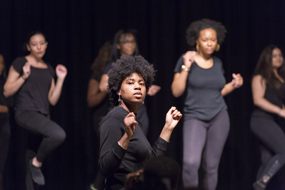 "Geneseo's Black Student Union hosted their annual Soul Food Dinner with the theme, ""A Phenomenal Woman."" Freshman Amber Mayo (pictured above) participated in one of the dance performances during the Soul Food Dinner.  (Annalee Bainnson/Assoc. Photo Editor)"