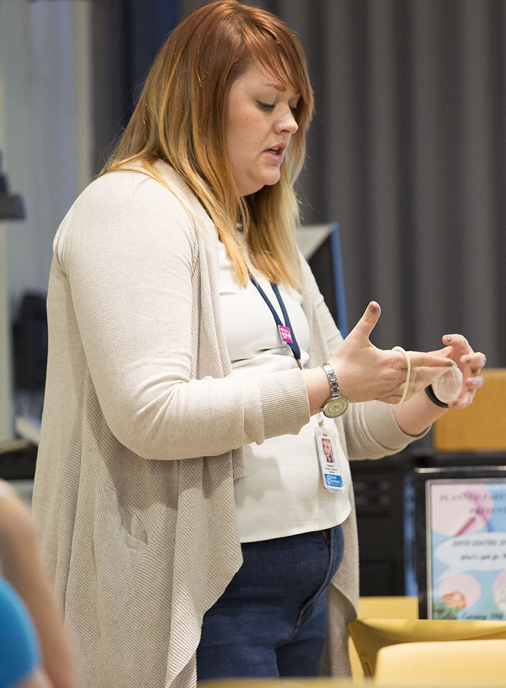 Planned Parenthood outreach specialist Rachel Snyder talked about the pros, cons and myths surrounding each type of birth control. In the context of the current political climate, Snyder also reassured attendees that contraceptives will be protected under Title X in New York State. (Annalee Bainnson/Assoc. Photo Editor)