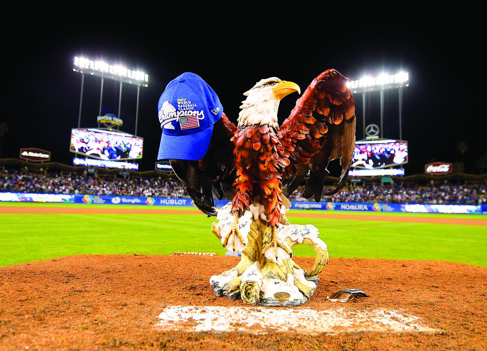 The eagle statue, which represents the United States, is placed on the pitcher's mound to celebrate the U.S. victory over Puerto Rico in the final for the World Baseball Classic. The 8-0 victory for the U.S.  marked their first World Baseball Classic Championship. (Mark J. Terrill/AP Photo)