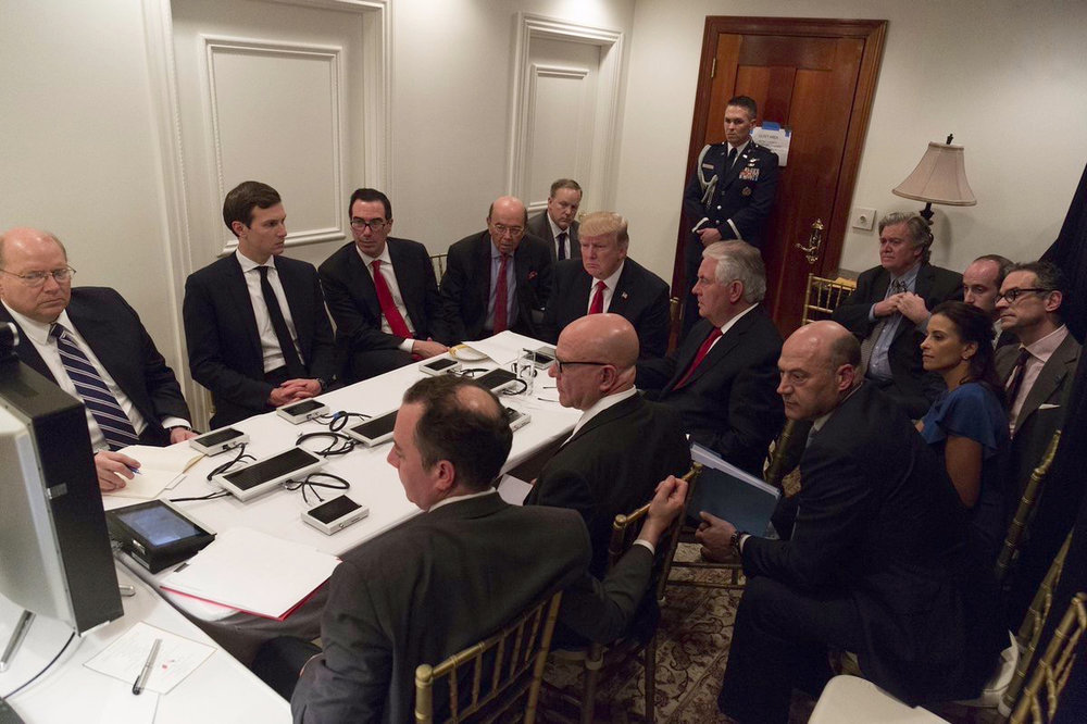 President Donald Trump receives a briefing about a chemical attack in Syria one day before he called for a missile attack on the country. Trump's decision to attack Syria foreshadows potentially dangerous relations with other countries in the future. (Shaelah Craighead/AP Photo)