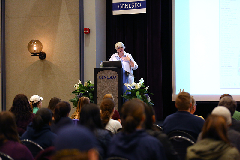 "Based on Randy Pausch's memoir written while he was dying, Elizabeth Falk delivered her own hypothetical ""Last Lecture"" to impart wisdom from her life journey. Using metaphors about landmarks, Falk's talk was inspirational and broadening. (Annalee Bainnson/Assoc. Photo Editor)"
