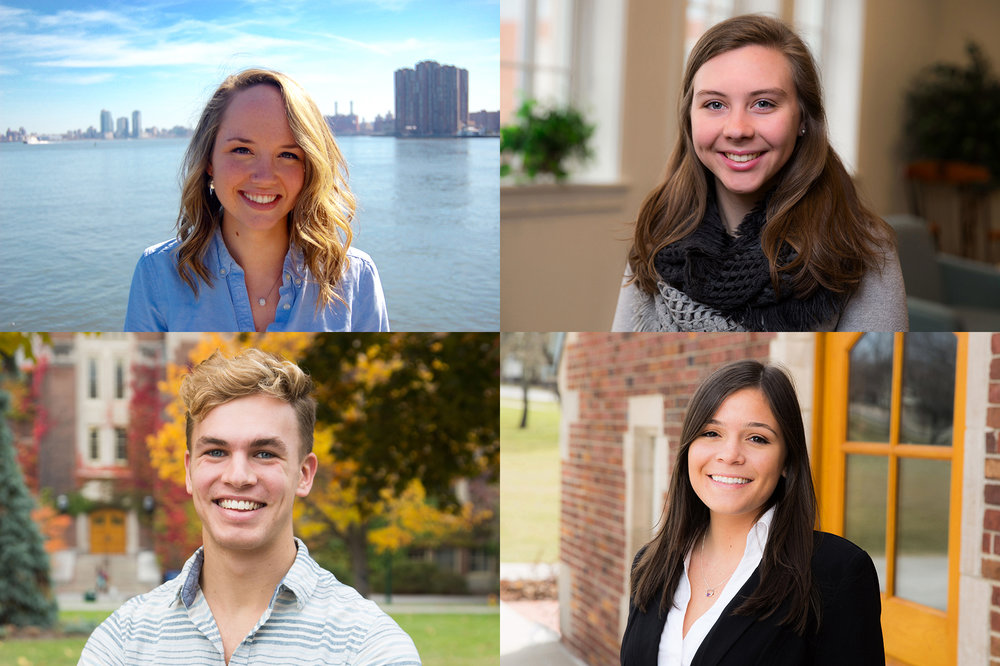 Two Geneseo students and two alumnae were granted national Fulbright fellowships, in which these individuals will work as English Teaching Assistants for the 2017-18 school year. Pictured above are alumna Kate Dunn (upper left) who will be traveling to Malaysia, senior Natalie Dubois (upper right) who will be traveling to Germany, senior Erik Mebust (lower left) who will be traveling to Vietnam and School of Eudcation graduate student Kelli Panara (lower right) who will be traveling to the Netherlands. (Courtesy of SUNY Geneseo Office of Communications and Marketing)