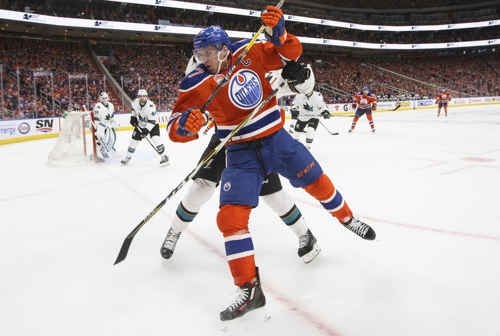 Edmonton Oilers' forward Connor McDavid fights off San Jose Sharks defender Justin Braun during the second period of game two of a NHL hockey first-round playoff game in the Stanley Cup on Friday April 14.  Hockey fans from all over the country look forward to the Stanley Cup, as it provides some of the best competition of the year. (Sergio Garcia/AP Photo)