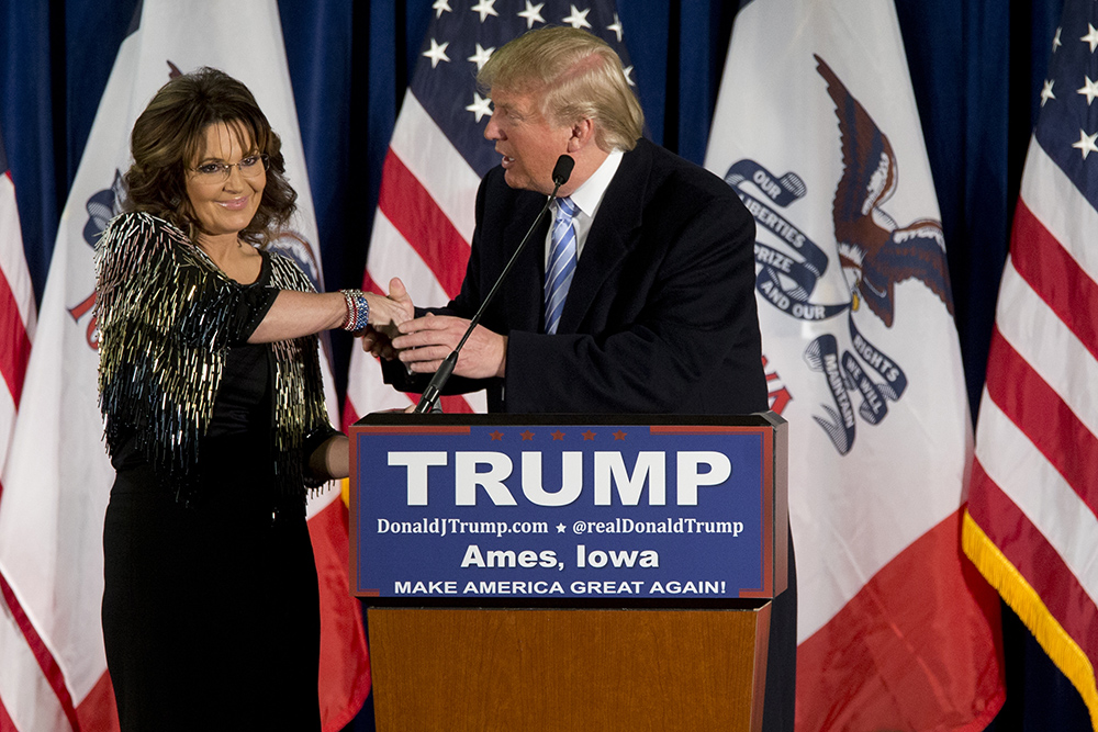 Sarah Palin supports Donald Trump in Iowa. While at dinner at the White House on April 19, Palin posted disrespectful images with Hillary Clinton's portrait on social media. (Courtesy of AP Photo)