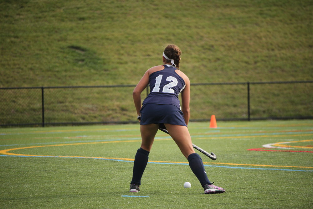 Junior forward Gabriella Clare waits for a pass from her teammate. The women are preparing for their upcoming home game on Friday Sept. 15 against SUNY Cortland, where they hope to add another win to their record. (Lamron Archives)