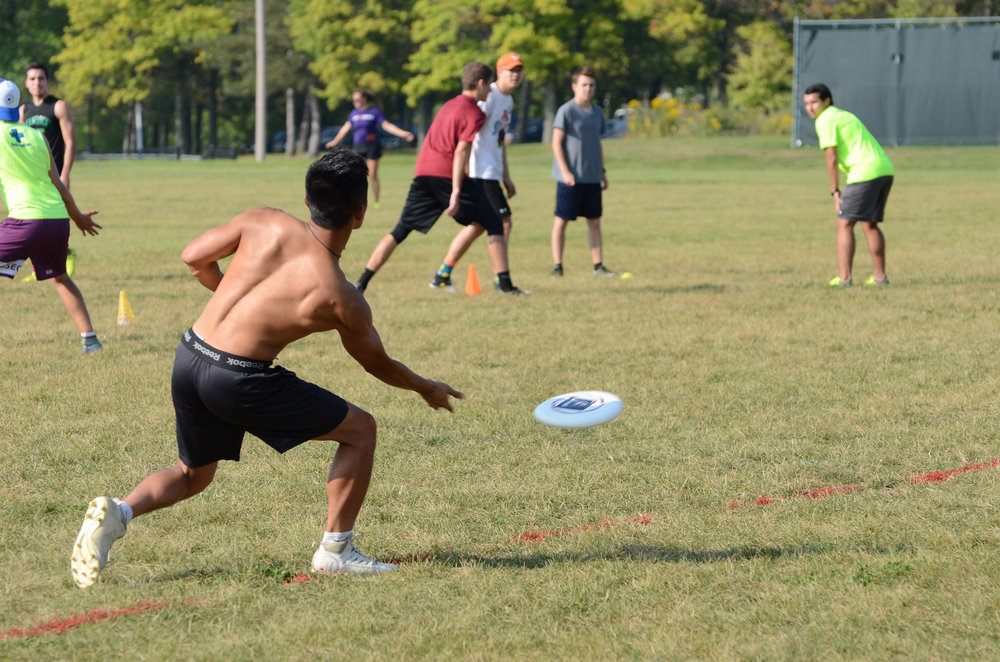 The Geneseo men's Ultimate Frisbee club works hard with three practices a week, while also maintaining a friendly club sport environment. The men play in various competitions throughout the year, primarily in the spring. (Troy Hallahan/Advertising Manager)