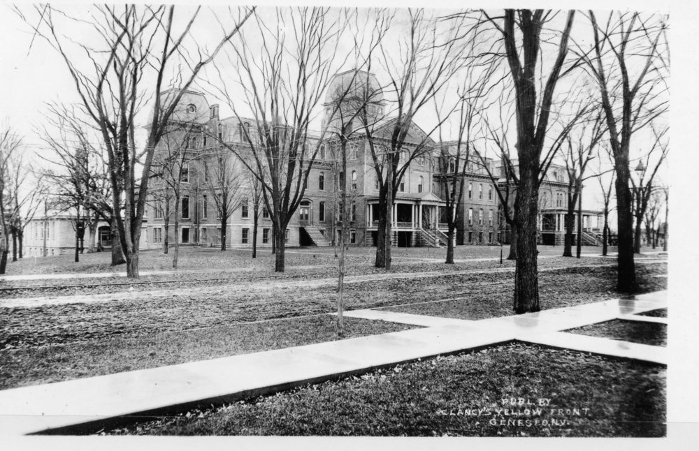 Old Main (pictured above) was the Geneseo Normal School for the earliest years. On the current Geneseo campus, Welles Hall, Wadsworth Auditorium and Erwin Hall have taken the place of Old Main. (Courtesy of Wayne Mahood)