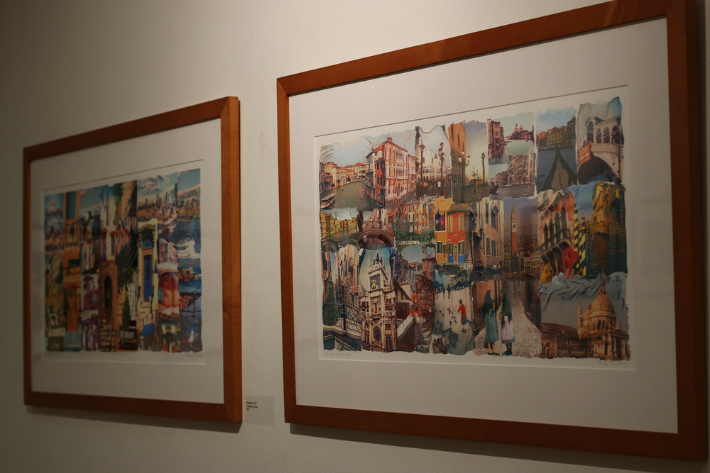 """Geneseo Campus Activities Board opened the exhibit, """"Altered Photography,"""" by Roslyn Rose on Thursday Sept. 28 in the Kinetic Gallery. The exhibit included photography from the Rochester-based artist, which highlighted different Hoboken landmarks illustrated through specific collage intricacies. (Ellayna Fredericks/Assoc. Photo Editor)"""