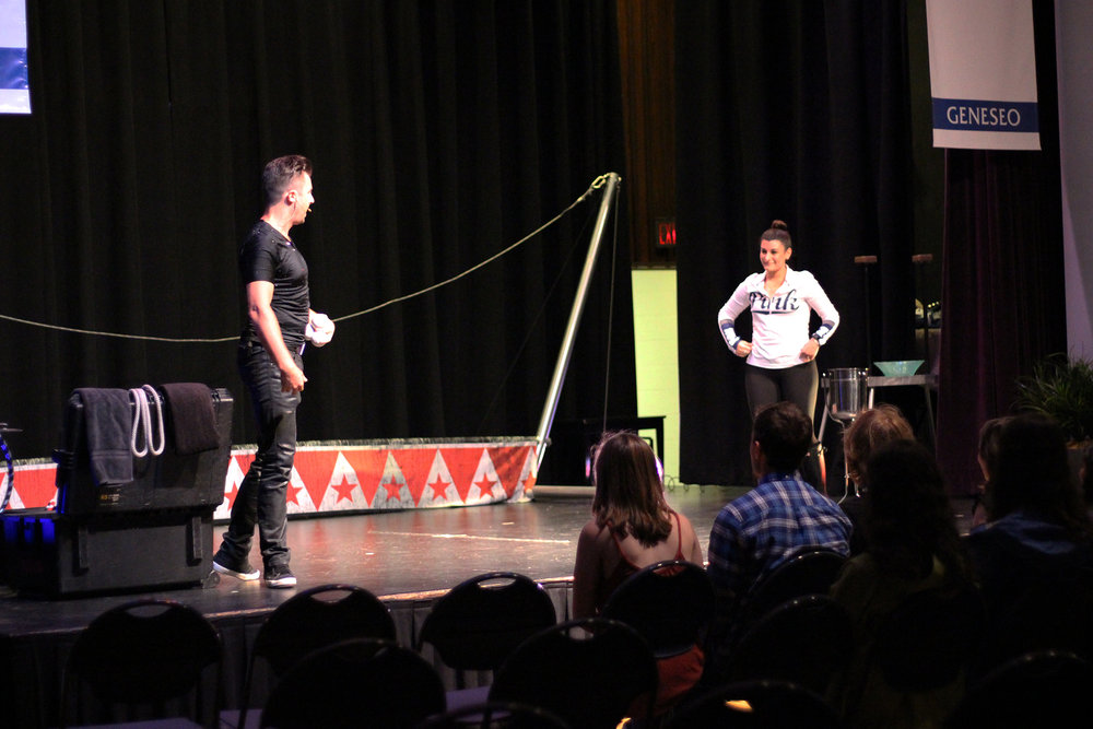 Great Dubois Show was held in the MacVittie College Union Ballroom, organized by Geneseo Circus Club and Geneseo Late Knight on Friday Sept. 29. Circus artists Michael Dubois and Viktoria Grimmy excited attendees with thrilling performances. (Ellayna Fredericks/Assoc. Photo Editor