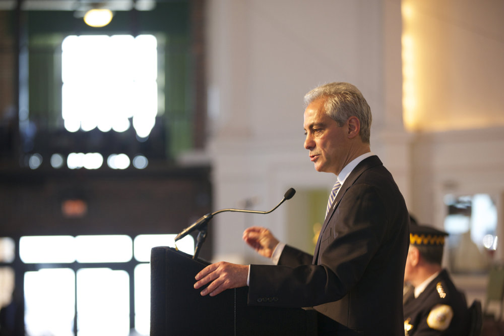 Chicago Mayor Rahm Emanuel addresses Chicago Police graduates at Chicago's Navy Pier Grand Ballroom on March 30, 2015. Recently, Emanuel has been negligent of controversies surrounding the police department in Chicago. (Jason Dorsey/Creative Commons)