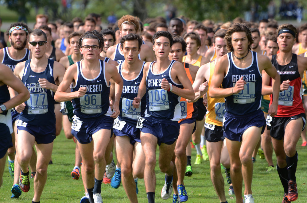 The Geneseo men's and women's cross country teams stayed at the front of the pack during their home meet at Letchworth State Park on Saturday Sept. 30. Having the home turf advantage proved to be beneficial to the Knights, as both teams earned first place. (Troy Hallahan/Advertising Manager)