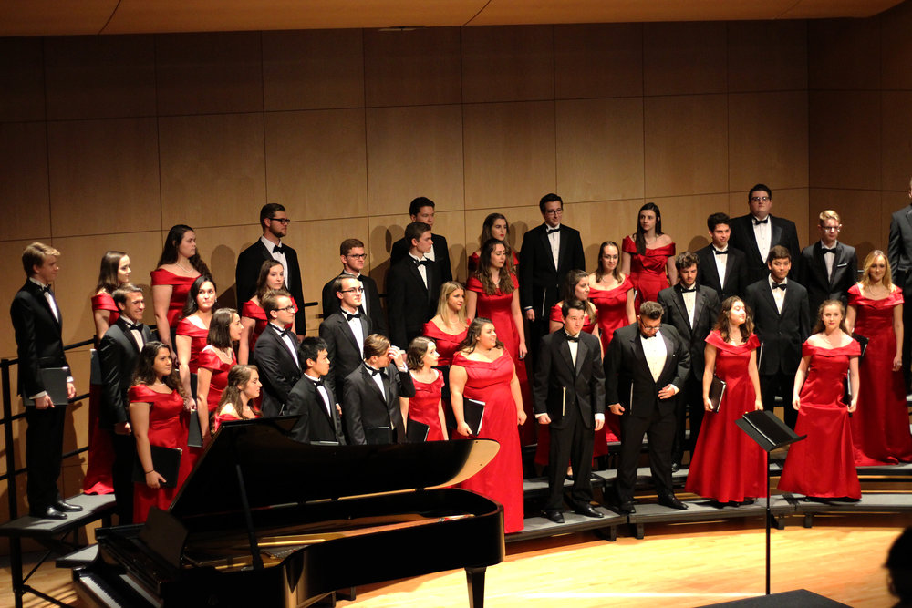 "The Geneseo Chamber Singers and Spectrum Women's Ensemble performed for a larger than full house audience on Sunday Oct. 22 in  the Doty Recital Hall. One of the main performances was the captivating piece ""Tremble,"" composed by adjunct professor of English and music Glenn McClure. (Ellayna Fredericks/Assoc. Photo Editor)"