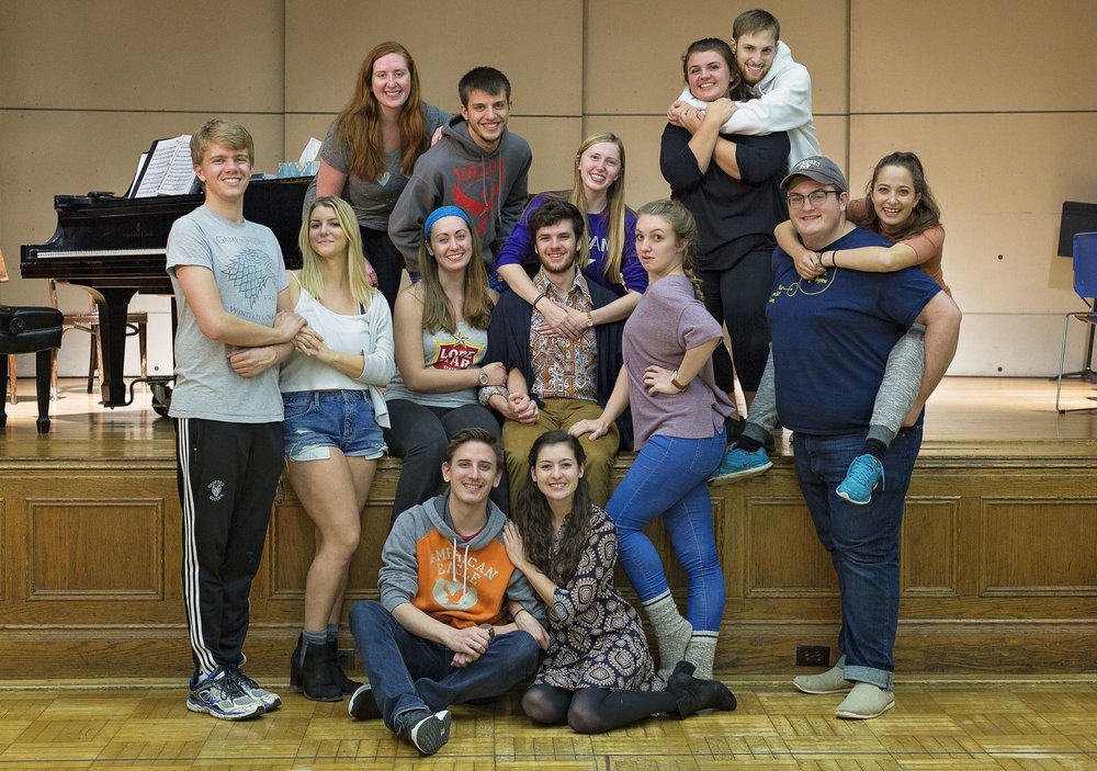 "The 2017 fall musical, ""Company"" (cast pictured above) tells the story of  anti-social Bobby through multiple vignettes. Highlights of the show include an innovative plot structure, complex characters and fantastic music. (Annalee Bainnson/Photo editor)"