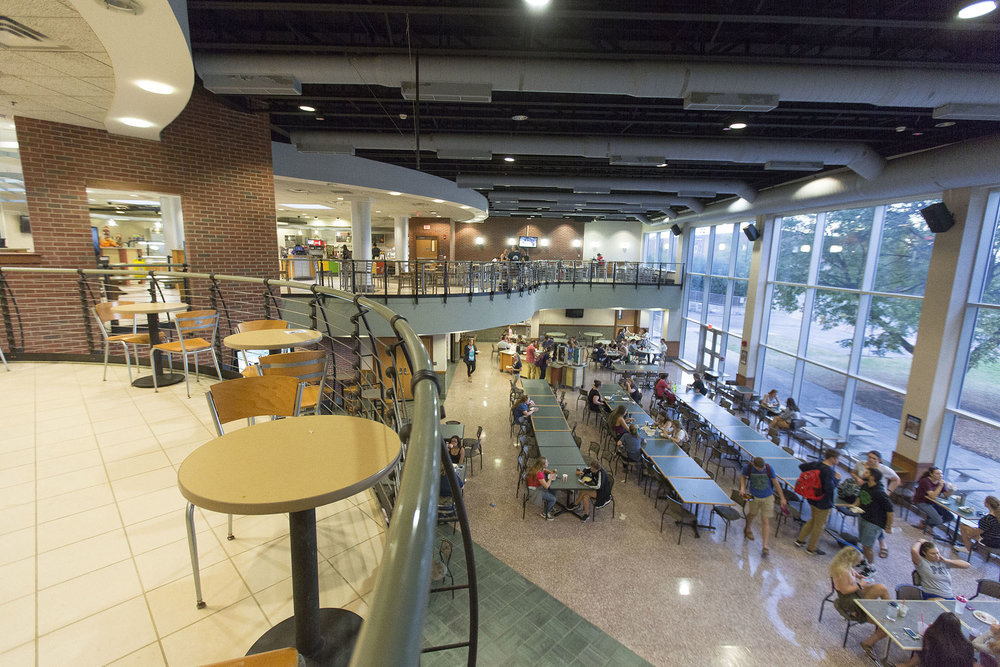 Campus Auxiliary Services has decreased hours at Fusion Market, Mary Jemison Dining Hall (pictured above) and Max Market. These cuts stem from a desire to keep prices stable and from an analysis of  student behaviors. (Annalee Bainnson/Photo Editor)