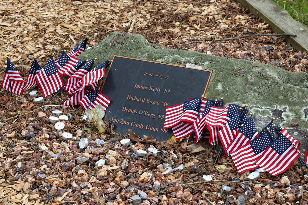 The college has a number of physical memorials dedicated to members of the campus community, including the one pictured above for those who died in the 9/11 terror attack. College Advancement is considering how to codify the way that the college commemorates those people. (Ellayna Fredericks/Assoc. Photo Editor)